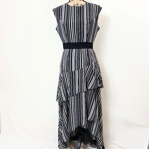 New York & Co. Sheer Striped Tiered Dress Black